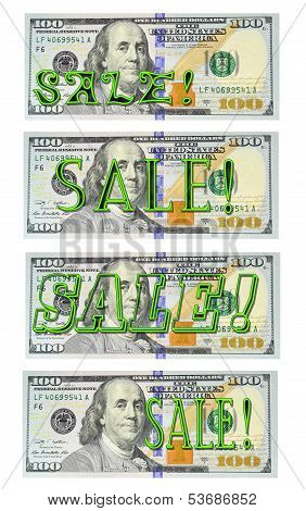 Neon SALE! on new $100 bill - Set of 4