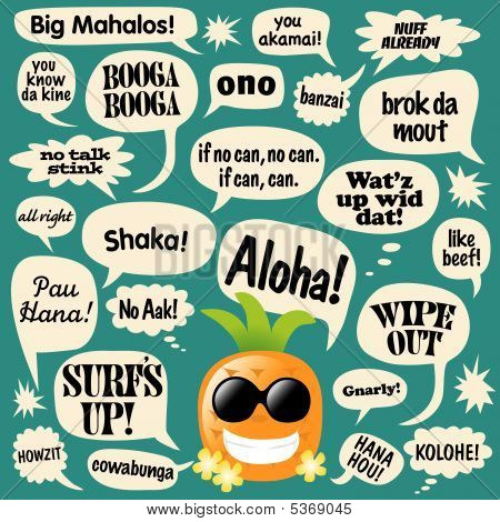 Various phrases in comic bubbles (Hawaiian Pineapple) Vector