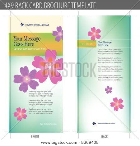 4x9 Rack Card Brochure Template Vector