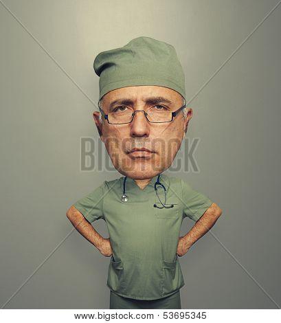 bighead doctor over grey background