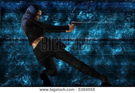 Sci Fi Woman With A Gun