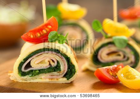 Crepe Rolls Filled with Ham and Spinach