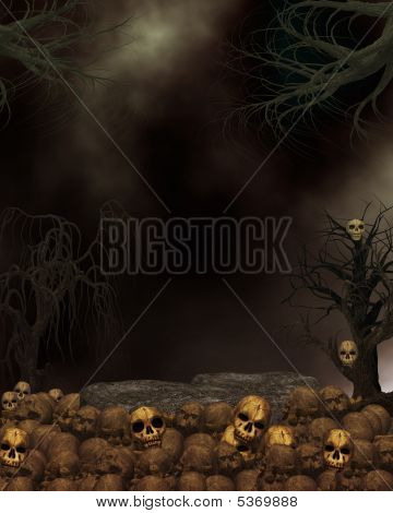 Spooky Dark Skull Background