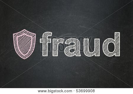Protection concept: Shield and Fraud on chalkboard background