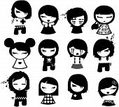 image of emo-boy  - emo characters design in black and white - JPG