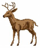 pic of buck  - A pixel art style deer illustration of a buck or stag - JPG