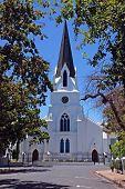 stock photo of pentecostal  - white protestant church in Stellenbosh  - JPG