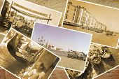 picture of gondolier  - Collage Retro Postkarte Gondel Service with gondolier at Pier Illustration - JPG