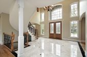 picture of entryway  - Foyer and circular staircase in new construction home - JPG