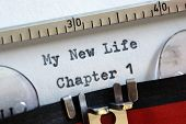 stock photo of motivational  - My new life chapter one concept for fresh start - JPG
