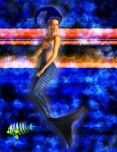picture of nymphet  - Mermaid swimming with caustic blue background with fish - JPG