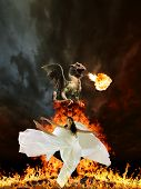 foto of woman dragon  - Glamour woman in white  dress and dragon - JPG