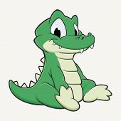 stock photo of gator  - Vector illustration of a cutely smiling cartoon crocodile - JPG