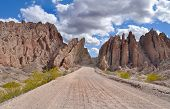 Road Between The Rocks In The Andes Mountains