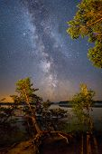 starry night at the lake landscape