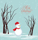 Merry Christmas Card Snowman