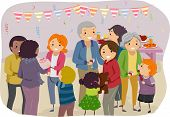 stock photo of gathering  - Illustration of a Family Mingling With the Visitors of a Family Gathering - JPG