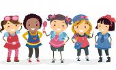 Illustration of Little Girls Wearing Different Types of Girly Clothes
