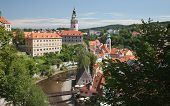 Cesky Krumlov, Czech Republic, August 21, 2012: The Castle Tower. The Tourists Visit The National Tr