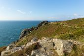 stock photo of st ives  - Zennor Head Cornwall England UK near St Ives on the South West Coast Path on the Penwith Heritage Coast - JPG