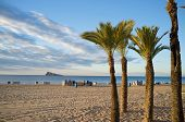 foto of costa blanca  - Sunny early morining landscape on Benidorm beach Costa Blanca Spain - JPG