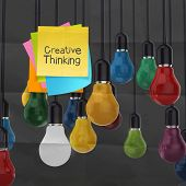 Sticky Note With Creative Thinking Word  Light Bulb On Crumpled Paper As Creative Concept