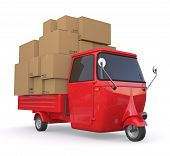 stock photo of truck-cabin  - one three wheeled mini truck full load with cartons  - JPG