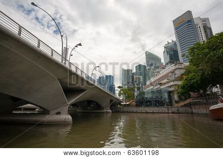 SINGAPORE - NOVEMBER 05, 2012: Famous Esplanade Bridge is a vehicular bridge that spans across the Singapore River, was opened in 1997. It is located near the river's mouth in the district Riverside.