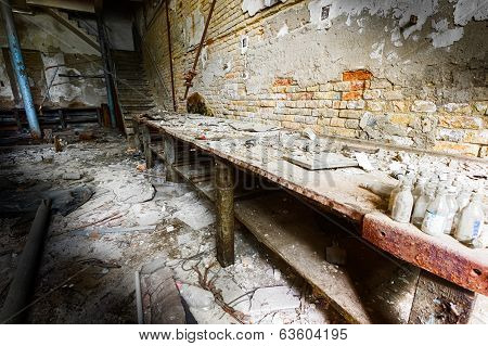Old Empty Desolate Dirty Locksmith Workshop