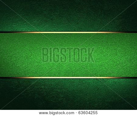 Design Template. Green Background With Green Ribbon