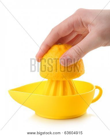 Citrus squeezer with lemon isolated on white