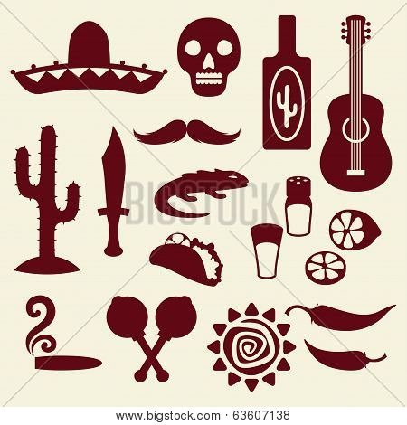 Collection of mexican icons in native style.
