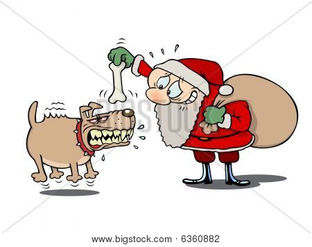 Santa and the mad dog