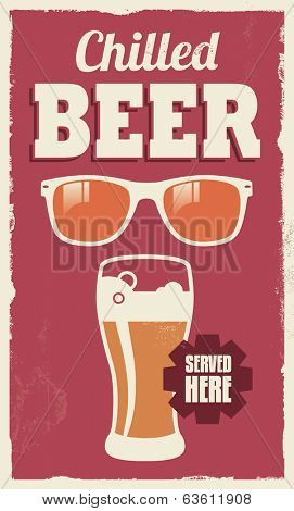 Vintage retro beer sign - vector poster design with removable texture