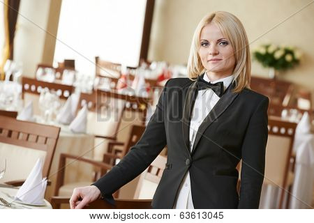 beautiful restaurant manager woman administrator at work place
