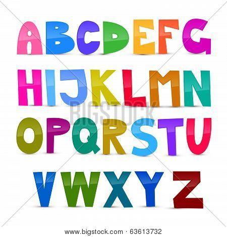Colorful Funny Alphabet Set Isolated on White Background