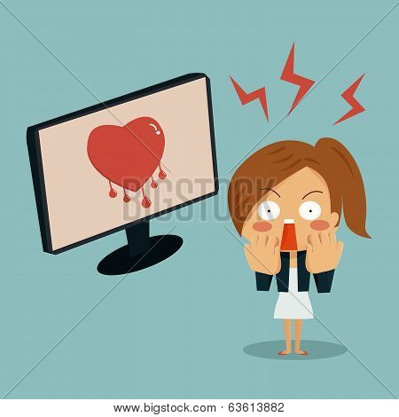 Businesswoman Is Shocking When She Found Heartbleed Bug In Computer, Security Concept.