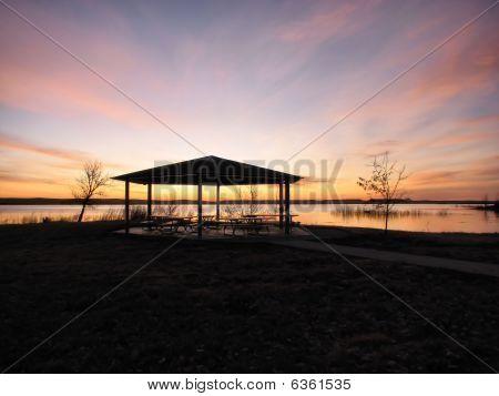Picnic Shelter At Sunrise