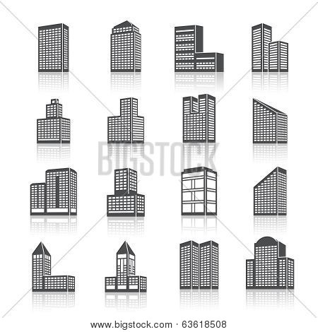 Edifice buildings icons set