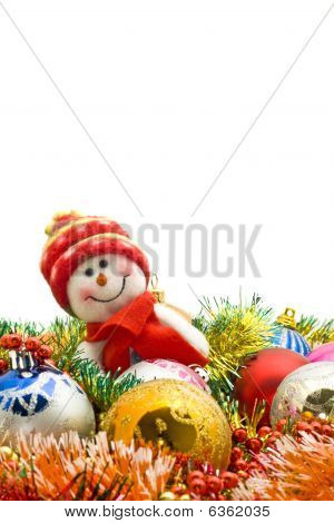 Christmas Card - Lovely Snowman And Decoration Balls