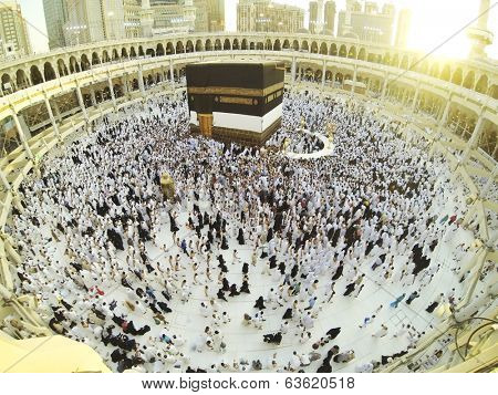 Muslim people praying at Kaaba in Mecca