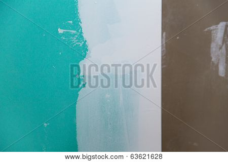 drywall hydrophobic plasterboard in green plaster corner seam detail
