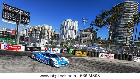 Long Beach, CA - Apr 11, 2014:  The Telcel Chip Ganassi Racing car practices through the turns at the TUDOR United SportsCar Championship of Long Beach at Grand Prix of Long Beach in Long Beach, CA.