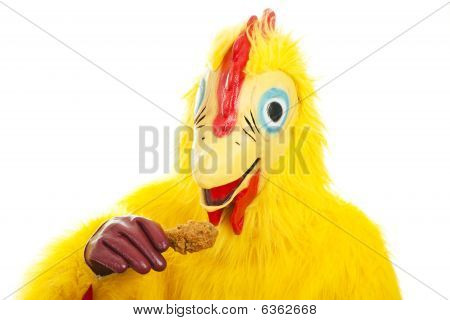 Chicken Man Eats Drumstick