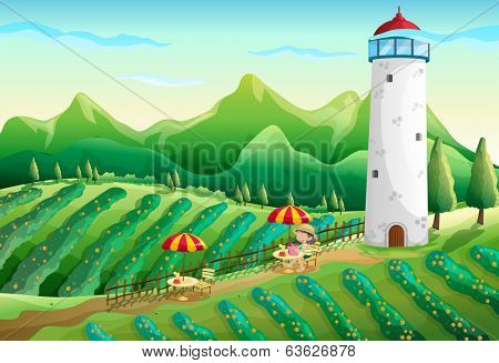 Illustration of a farm with a young girl enjoying the ambiance