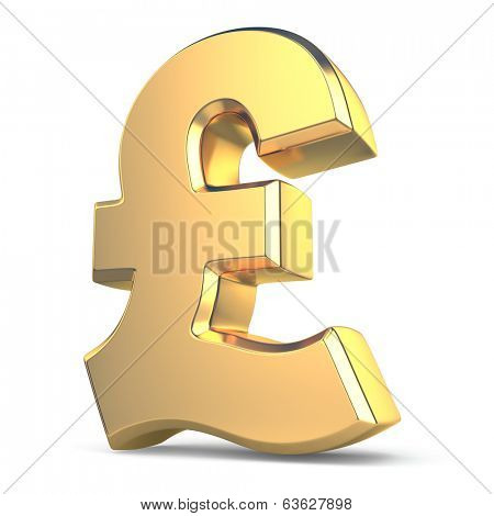 Golden pound currency sign on white isolated background. 3d
