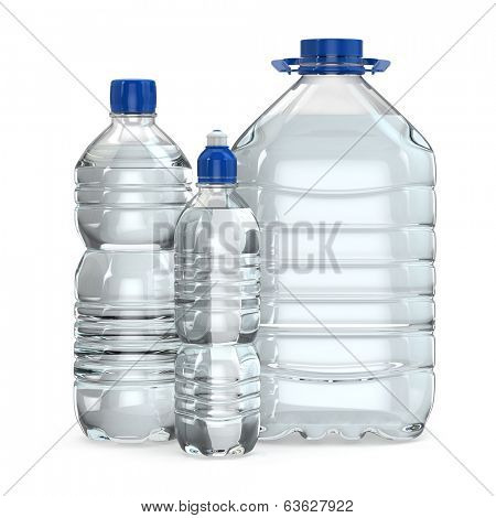 Bottles of water various sizes on white isolated background. 3d