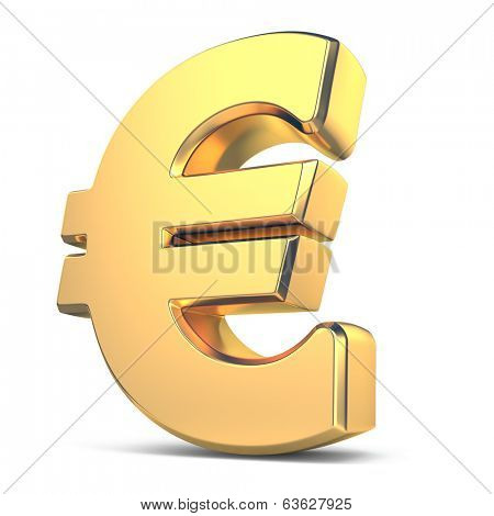 Golden euro currency sign on white isolated background. 3d