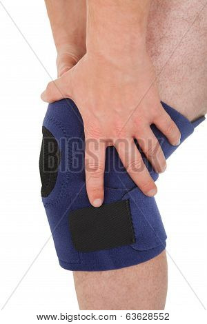 Close-up Of Man Wearing Knee Brace