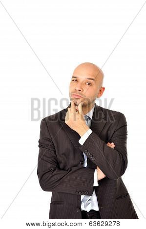 Happy Young Man With Bald Head Thinking Isolated White